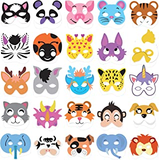 25PCs Animal Masks for Kids Birthday Jungle Safari Zoo theme Party Supplies Dress - up Party Kit Favors