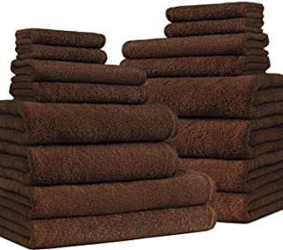 Classic Turkish Towels 16 Piece Bathroom Towel Set - Includes Oversized Bath Sheets, Bath Hand and Washcloth Towels Made with 100% Turkish Cotton, Chocolate