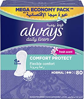 Always Daily Liners Comfort Protect Normal Fresh Scent 80 count