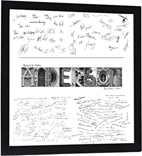 Creative Letter Art Personalized Wedding Book Guest Registry and Architectural Name Sign includes 20 by 20 inch Frame with Collage and Signature Mat - Best Wedding Gift