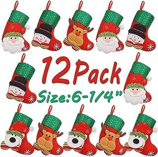 LimBridge 12pcs Mini Christmas Stockings Gift & Treat Bag, for Favors and Decorating