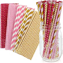 Party on Tap Pink and Gold Straws - Bulk Pack of 125 Assorted Paper Straws for Party Supplies, Birthday Parties, Baby Show...