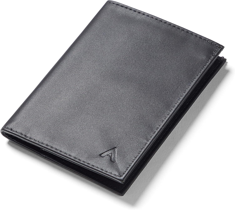 Allett Original Wallet, Onyx Black | Leather, Slim, Minimalist | RFID Blocking, Bifold | Holds 4-24+ Cards, Bills, Receipts | Wallets for Men & Women