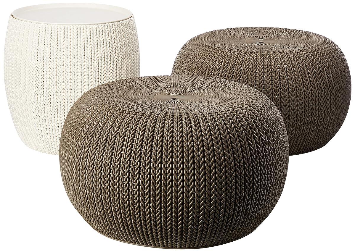 Keter 232044 Urban Knit Pouf Set, Harvest Brown/Cream