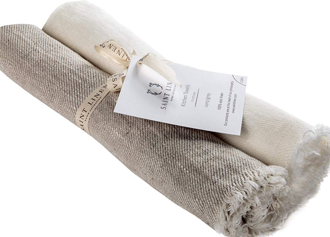 Set Of 2 Linen Kitchen Towels Dish Cloth Stone Washed Towels In Ivory And Grey Size 17 X 27 Pure Linen With High Absorption Soft Fabric And Lint Free Safe For Machine Wash Drying