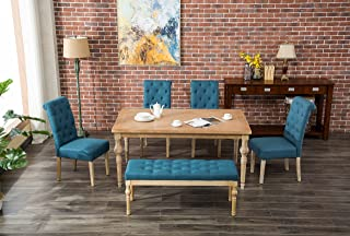 Roundhill Furniture Habitanian 6-Piece White Wash Dining Set with Tufted Chairs and Bench, Blue