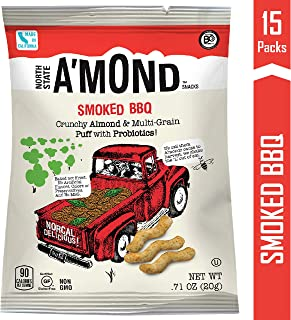Smoked BBQ Snack Puffs by A'mond Snacks, 15 Count, Single Serve Bags .71 oz Each, Almond and Ancient Grain Plant-Based Blend, Gluten-Free and Non-GMO