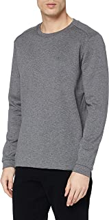 BOSS Mens Salbo Hybrid Cotton-Blend Sweatshirt with Curved Layered Logo