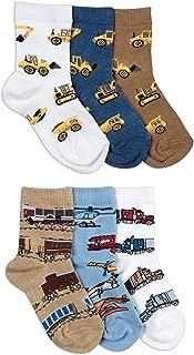 Jefferies Socks Boys Tractor Train Truck Pattern Novelty Crew Socks 6 Pair Pack