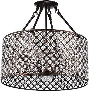 Edvivi Marya 4-Lights Antique Copper Round Drum Semi Flush Mount Crystal Chandelier, Beaded Drum Shade   Glam Lighting