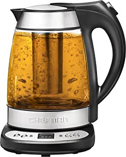 Chefman Electric Glass Digital Tea Kettle with FREE Tea Infuser,360 Degree Swivel Base,Built-In Precision Temperature Control Panel Base & Keep Warm Function,Removable Tea Infuser,1.7 Liter/1.8 Quart
