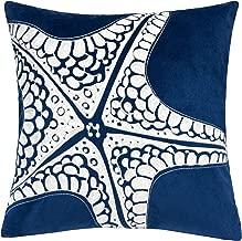 Homey Cozy Embroidery Navy Velvet Starfish Throw Pillow Cover,Ocean Blue Series Nautical Decorative Pillow Case Coastal Beach Theme Home Decor 20x20,Cover Only