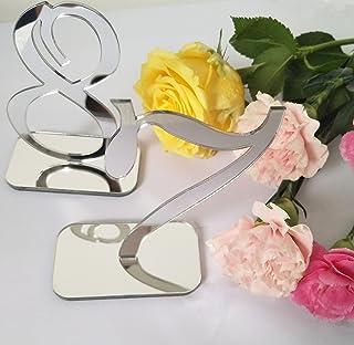 (5PCS, Silver) - RUIXUAN Acrylic Mirror Table Numbers, Wedding Table Number with Holder, Wedding Table Numbers Set, Weddin...