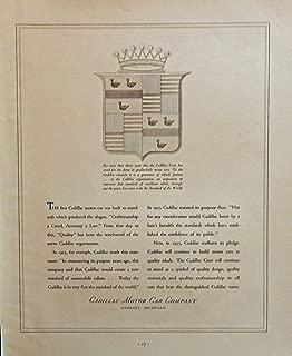 1935 Cadillac Motor Car Company. scarce 1935 print ad. B&W Illustration (Cadillac crest) original 1935 Fortune Magazine Art