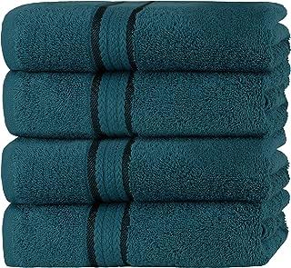 SweetNeedle Super Soft - Paquete de 4 toallas de mano 50x90 Teal, 580 GSM - 100% algodón puro Ringspun - Borde de rayón de...
