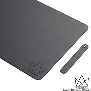 Uncrowned Kings Desk Pad - 35.4 X 17.7 Inches Premium Home Office Desk Mat Protector for Wooden, Glass Desktops - Black PU Leather - Waterproof - Extended Mouse Pad - Smooth for Writing – Desk Blotter