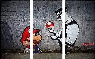 Pingo World Banksy Super Mario Bros Mushroom Gallery Wrapped Canvas Triptych Wall Art 48