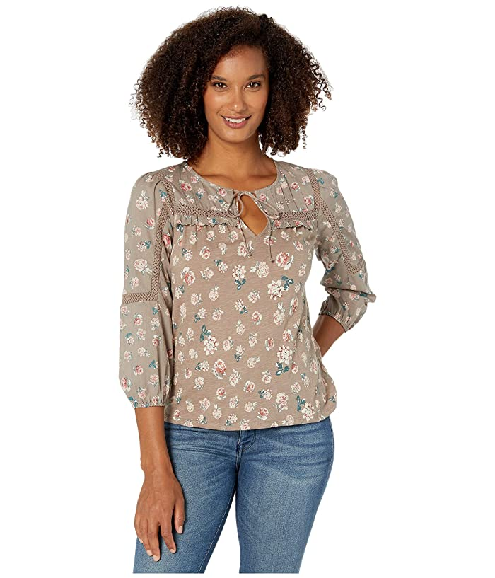 Lucky Brand  3/4 Sleeve Floral Printed Peasant Top (Grey Multi) Womens Clothing