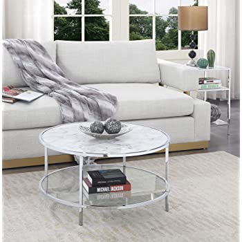 Convenience Concepts Gold Coast Carrara Round Coffee Table, White Faux Marble / Glass / Chrome