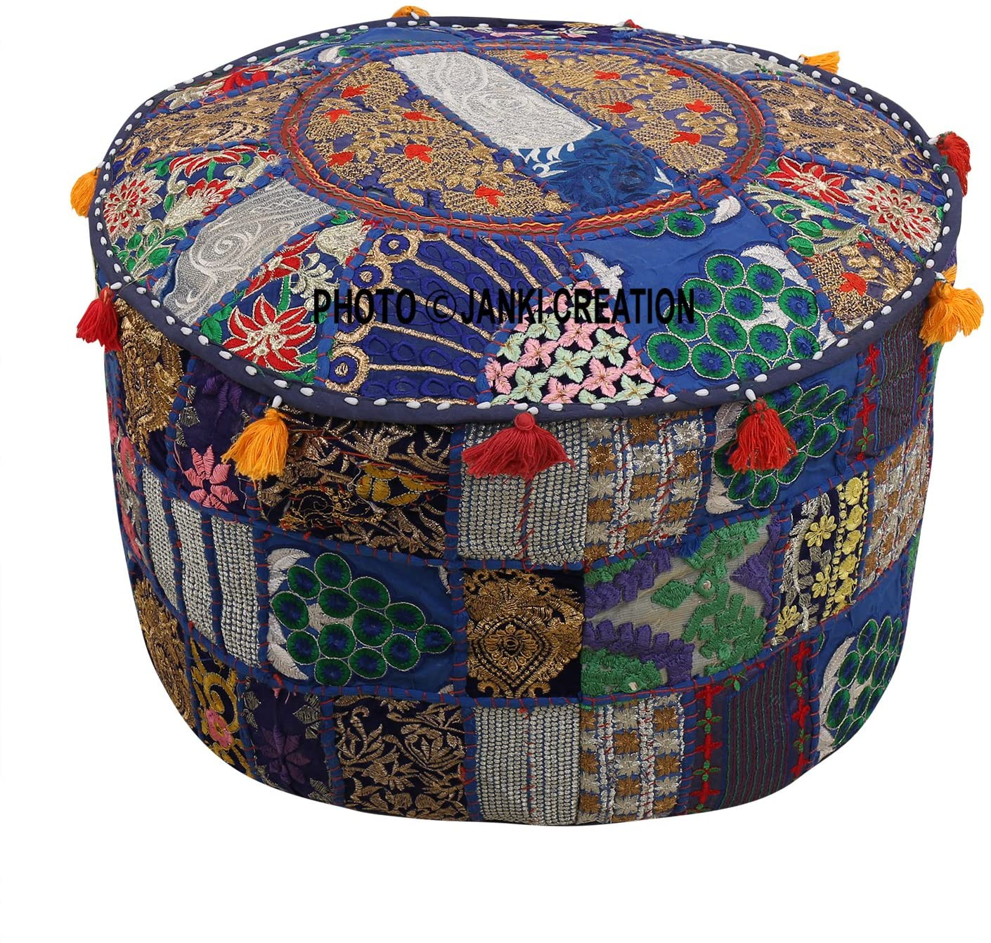 Indian Traditional Embroidered 2021 autumn and winter new Decorative Pouf Fresno Mall Ottoman Patchwork