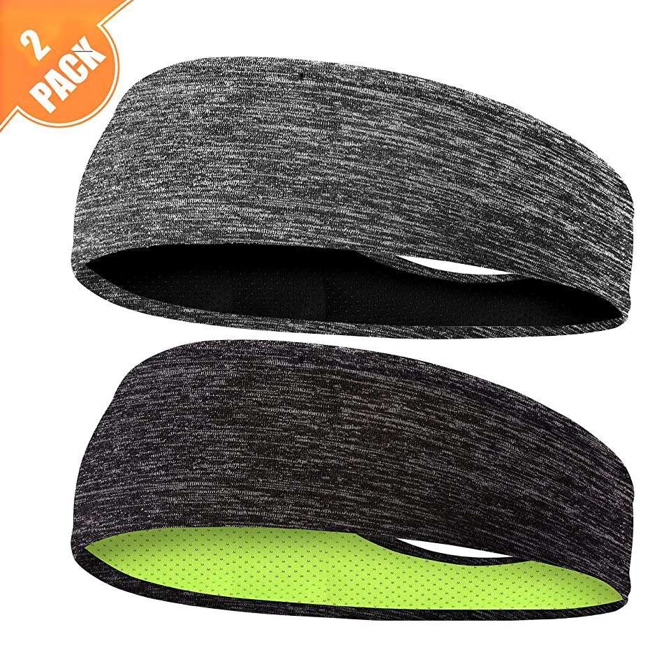 EasYoung Headbands for Men, 3/2/1pack Sweat Bands Headbands Mens Sport Cooling Headbands for Running, Crossfit, Working Out and Performance Stretch Guys Hairbands.