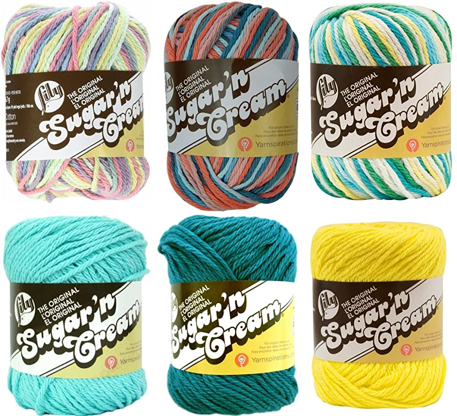 Variety Assortment Lily Sugar'n Cream Yarn 100% Cotton Solids and Ombres (6-Pack) Medium #4 Worsted