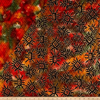 Textile Creations Double Face Quilted Indian Batik Abstract Fabric by The Yard, Metallic/Orange