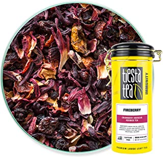 Tiesta Tea - Fireberry, Loose Leaf Cranberry Hibiscus Rooibos Tea, Non-Caffeinated, Hot & Iced Tea, 5 oz Tin - 50 Cups, Na...