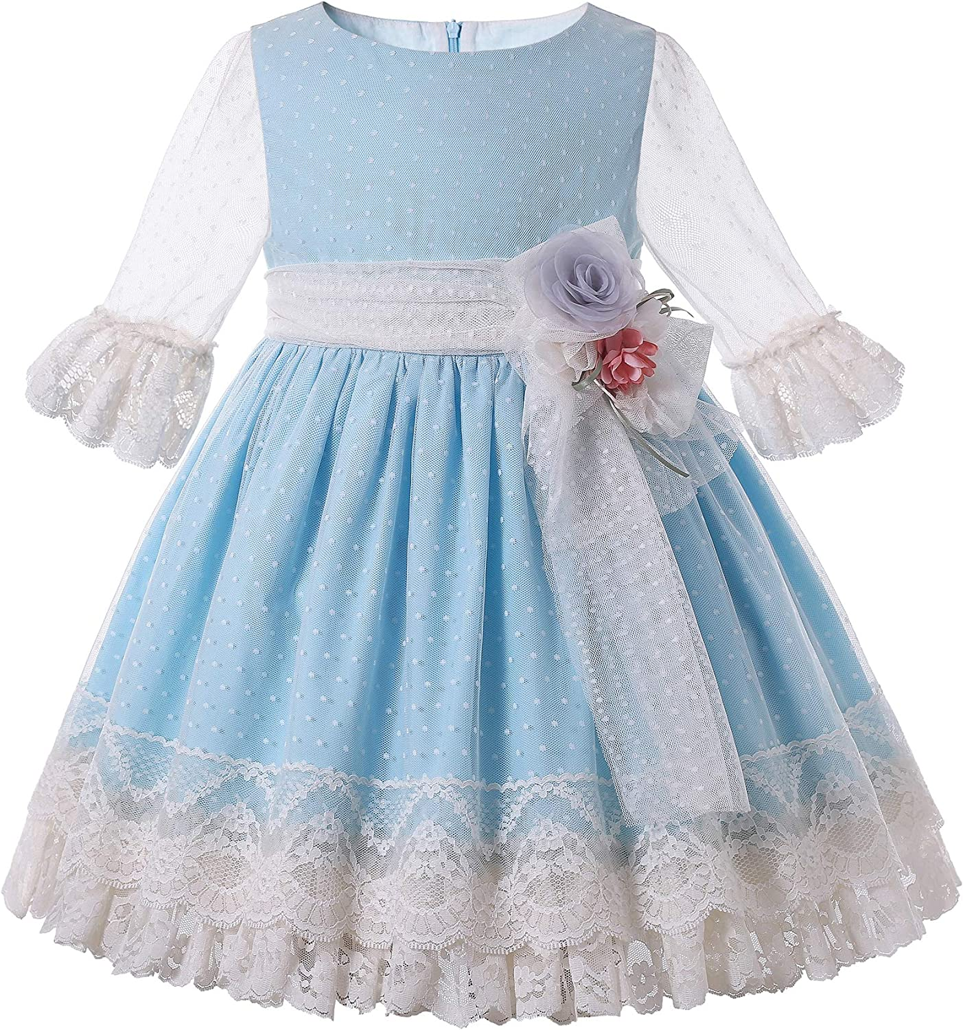 Pettigirl Toddler Girls Spring White Tulle Lace Cute Vintage Blue Clothing Birthday Party Wedding Boutique Dress