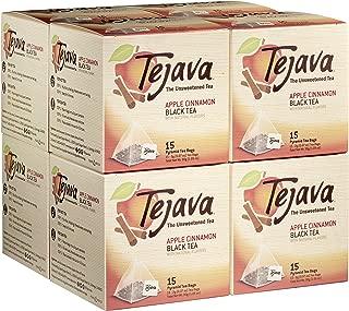 Tejava Apple Cinnamon Black Tea Bags, Case of 8 Boxes, 15 Tea Bagsper Box, Award-Winning Tea, Individually Packaged Pyramid Bags, 100% Natural