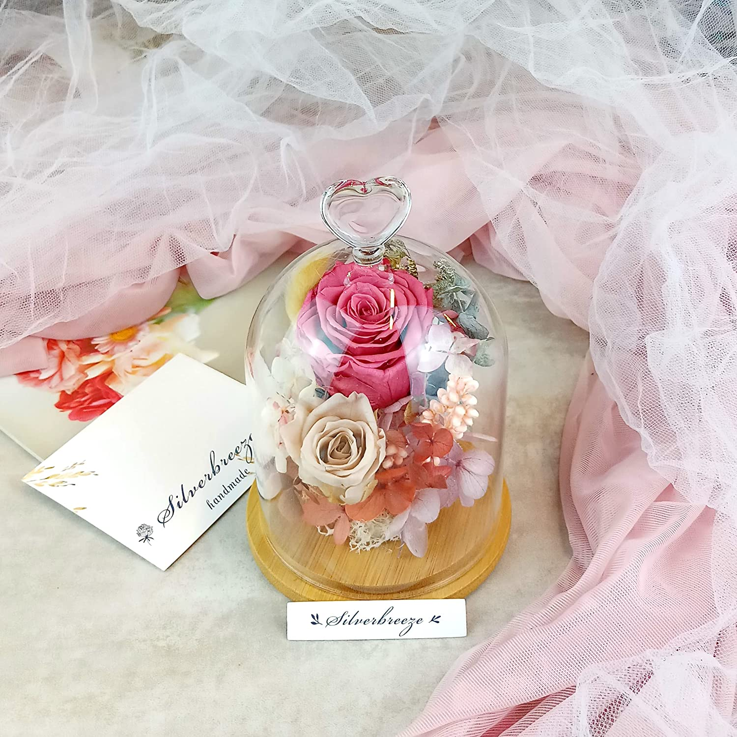 Eternal rose Tulsa Mall glass dome Preserved flow gift Max 74% OFF flower Heart