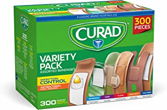 Curad Assorted Bandages Variety Pack 300 Pieces, Including Antibacterial, Heavy Duty,..