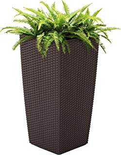 Best Choice Products 11x11-inch Indoor Outdoor Self Watering Wicker Planter w/Rolling Wheels and Water Level Indicator, Brown