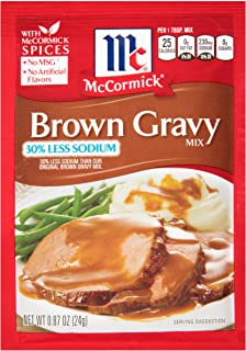 McCormick 30% Less Sodium Brown Gravy Mix, 0.87 Ounce (Pack of 1)