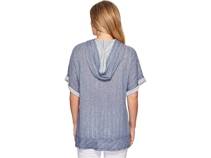 Mod-o-doc Pointelle Stripe French Terry Dolman Sleeve Pullover Hoodie
