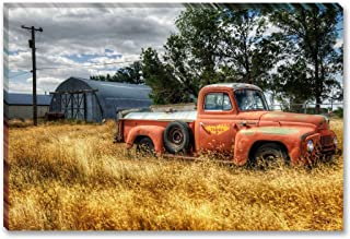 SmartWallArt - Traffic Tools Series Wall Art Framed painting Old Pickup Red Truck Wide Picture For Modern Home Decoration