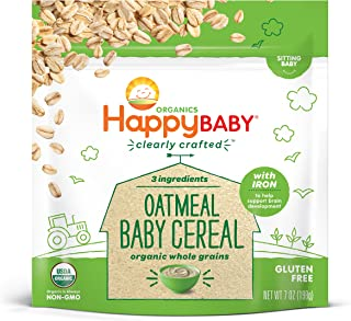 Happy Baby Organic Clearly Crafted Cereal Whole Grain Oatmeal, 7 Ounce Bag Organic Baby Cereal in a Resealable Pouch with Iron to Support Baby's Brain Development a Great First Food
