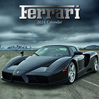 2021年壁掛けカレンダー フェラーリカレンダー 12 x 12インチ 月間ビュー 16ヶ月 自動車テーマ 高級レースカー付き リマインダーステッカー180枚付き