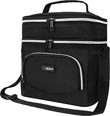 OPUX Insulated Dual Compartment Lunch Bag, Double Deck Lunch Box for Men, Women, Kids   Soft Leakproof Lunch Tote Cooler for Work, Office, School   Medium Reusable Lunch Pail, Fits 8 Cans (Black)