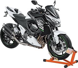 Hi Q Tools Montageständer Motorrad Ständer Motorradheber Vorderradständer Wippe, einfaches Abstellen des Fahrzeuges, ideal für den Transport, fester Stand, Orange, einstellbar für fast alle Rad /Reifengrößen