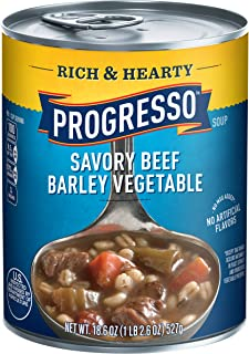 Progresso Soup, Rich & Hearty, Savory Beef Barley Vegetable Soup, 18.6 oz Cans (Pack of 12)