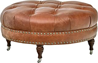 Stone & Beam Janelle Button Tufted Round Leather Wheeled Ottoman, 37