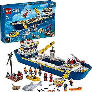 LEGO City Le bateau d'exploration océanique 60266 - Jouet pour enfants incluant un bateau d'exploration, un mini hélicoptè...