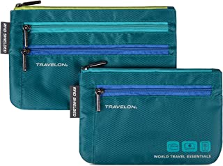 Travelon World Travel Essentials Set of 2 Currency and Passport Organizers, Peacock Teal, One Size