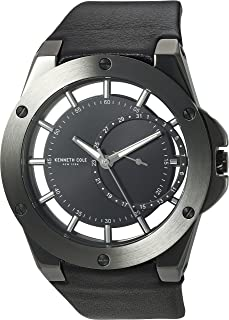 Men's Transparency Stainless Steel Japanese-Quartz Watch with Leather Calfskin Strap, Black, 29 (Model: 10030785)