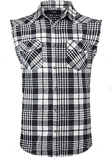 Men's Casual Flannel Plaid Shirt Sleeveless Cotton Plus Size Vest