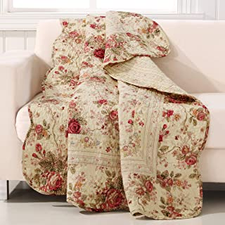 Greenland Home Antique Rose Throw Blanket, Full, Ecru