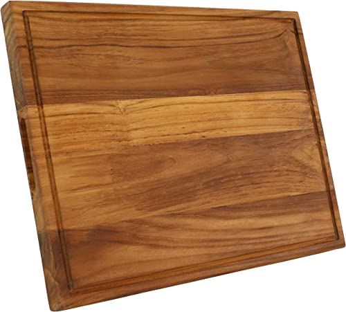 new arrival Sunnydaze Premium Reversible Teak Wooden Cutting Board with Juice Groove and Inset Hand online Grips - Meat, Poultry, Vegetable and outlet sale Fruit Cutting, Chopping or Carving Block Tray - 20-Inch outlet online sale