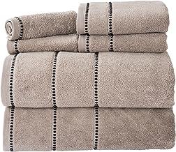 Lavish Home Quick Dry 100Percent Cotton Zero Twist 6Piece Towel Set - White Taupe