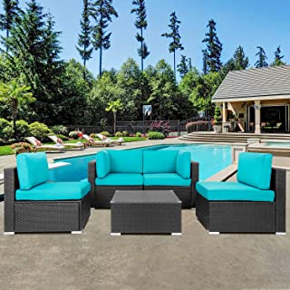Shintenchi Outdoor Patio Furniture 5 Pieces Sets, All Weather PE Wicker Rattan Patio Conversation Sofa Set Tea Table&Washa...